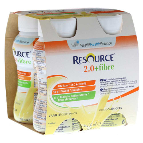 Resource® 2.0+fibre Vanille 4x200ml